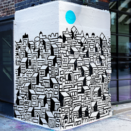 """""""Cityscape"""" mural by Nate Otto"""