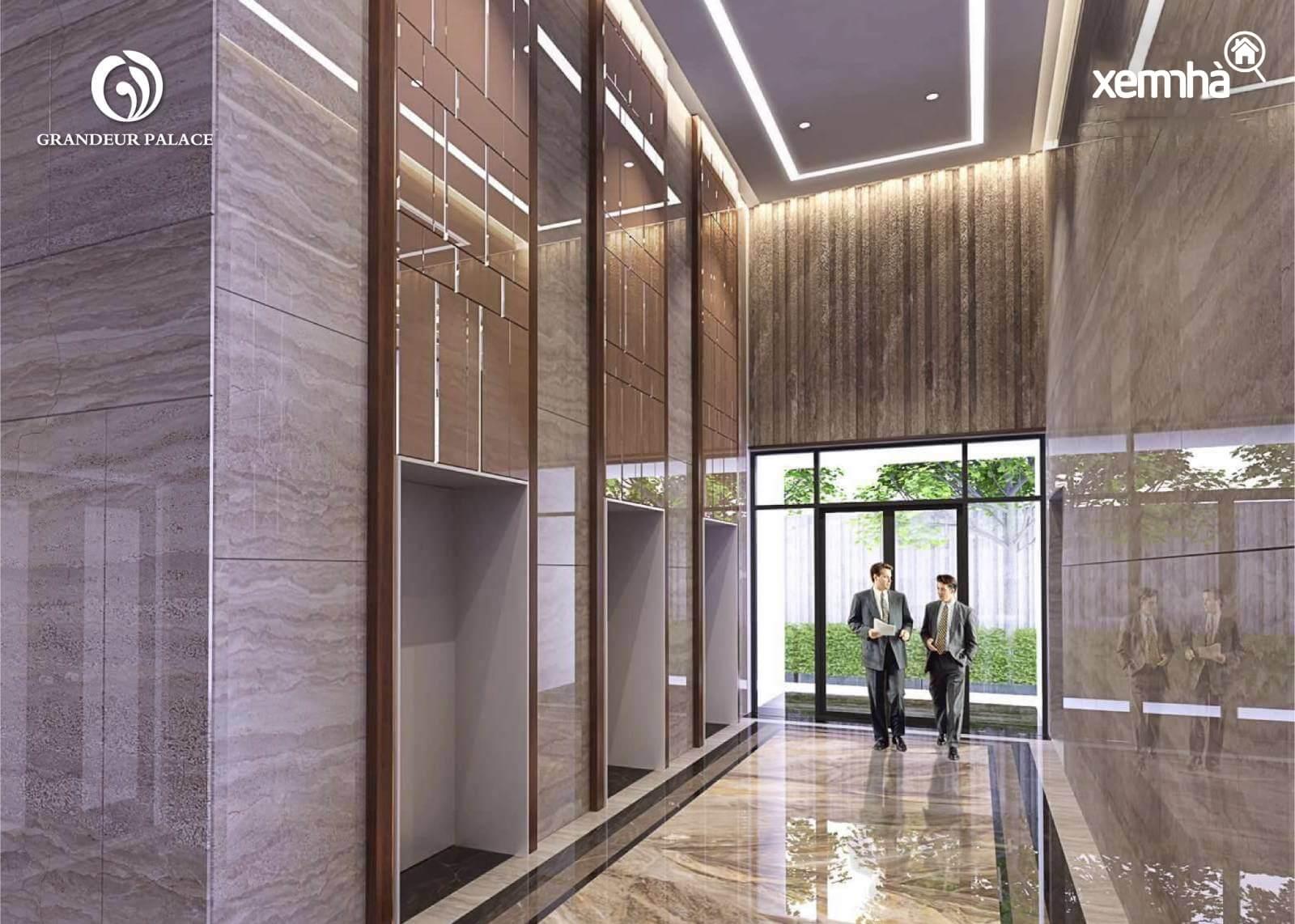 Sảnh thang máy hiện đại của Văn Phú Giảng Võ