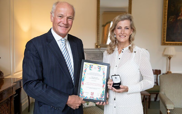 Countess of Wessex wore a polka dot maxi dress from ME+EM. The Countess is the Grand President of St John Ambulance
