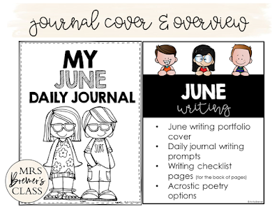 No Prep Daily Journal Writing Prompts for June! This pack includes writing stationery paper for the month of June. It is packed with prompts that will help kids generate LOTS of ideas what to write about. It also includes several seasonal acrostic poetry options. Create a monthly writing portfolio for each student! K-3 #journals #writingprompts #writing #kindergartenwriting #1stwriting #2ndwriting #summer #education #noprep