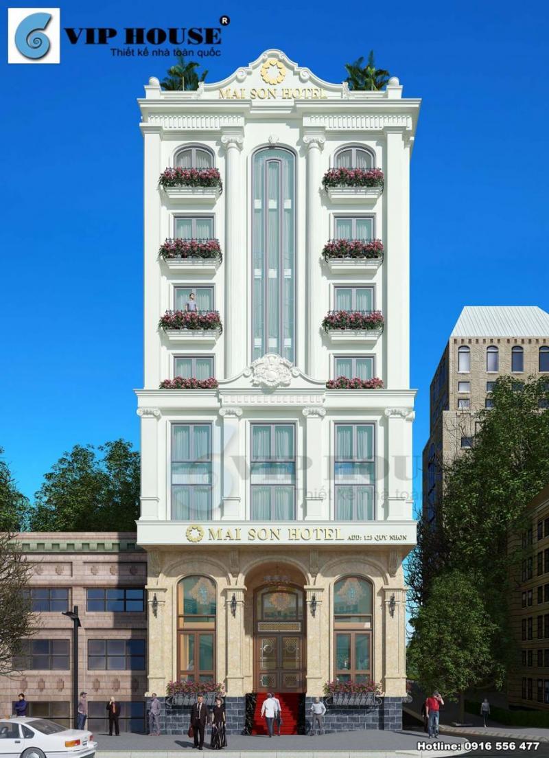 Hình ảnh: Phối cảnh mặt tiền chính diện đậm chất Pháp lịch lãm trong thiết kế khách sạn tân cổ điển 9 tầng.