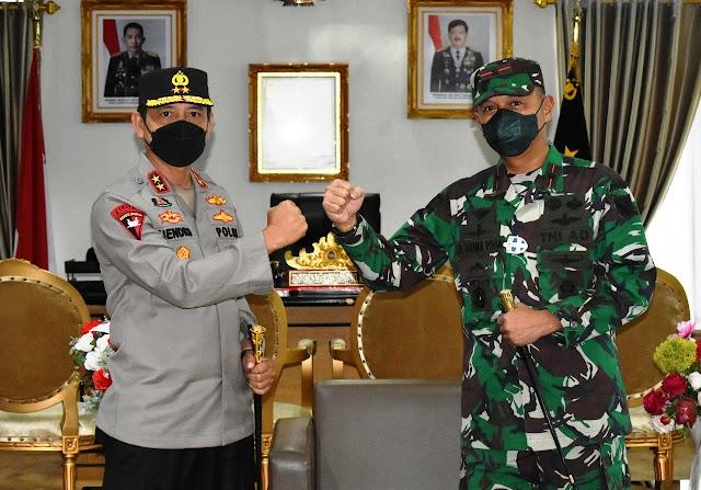 Menjaga Silaturahmi Korem 043/Gatam dan Polda Lampung, Danrem 043/Gatam Kunjungi Polda Lampung