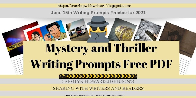 Mystery and Thriller Writing Prompts Freebie of the Month for June 15th