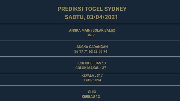 1 - PREDIKSI SIDNEY 03 APRIL 2021