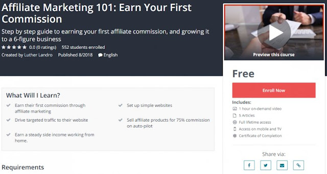 [100% Free] Affiliate Marketing 101: Earn Your First Commission