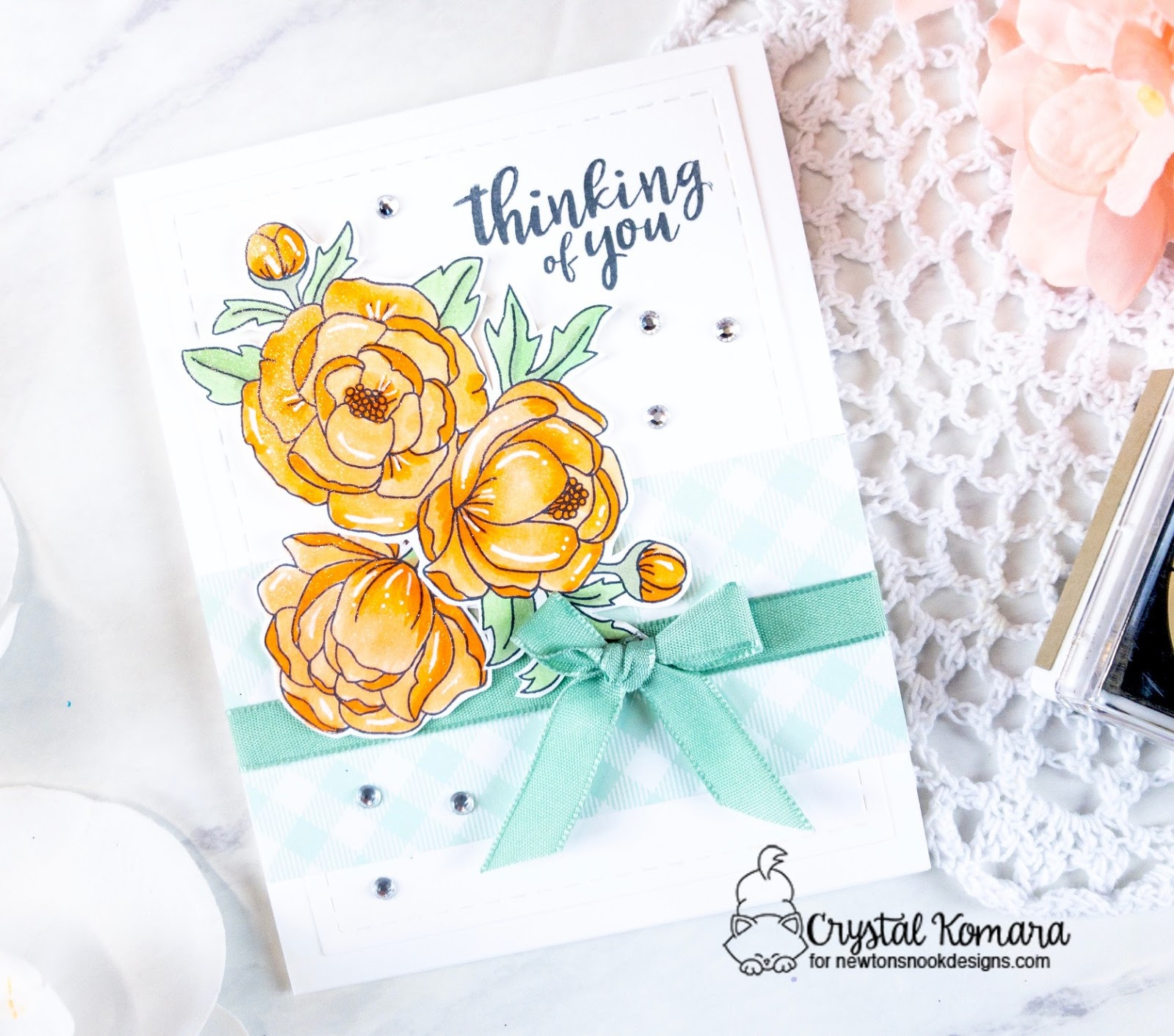 Thinking of you floral card by Crystal Komara | Peony Blooms Stamp Set by Newton's Nook Designs  #newtonsnook