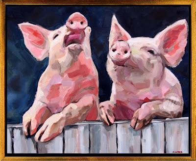 deux-amis-pig-oil-painting-merrill-weber