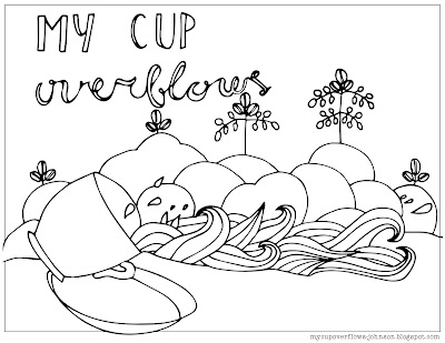 My cup overflows with blessings coloring page Psalm 23:5-6