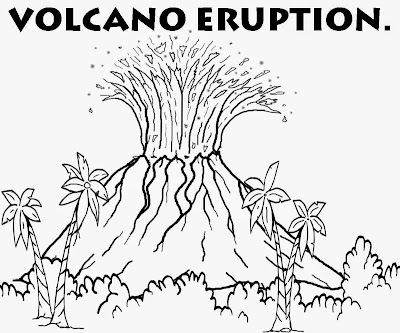 Discover volcanic lave World of reptile dinosaur and volcano erupting coloring diagrams for schools