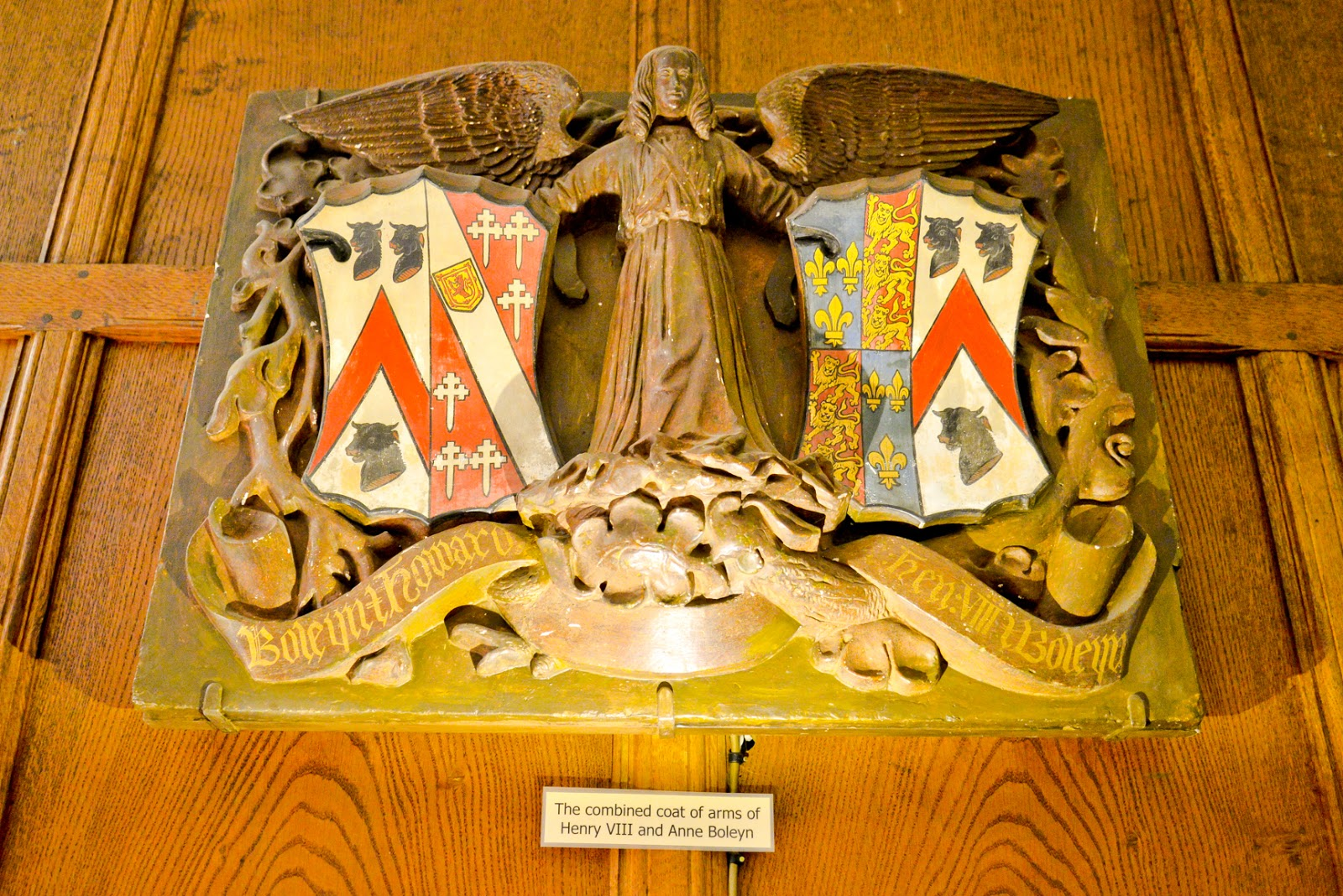 The combined coat of arms of Henry and Anne boleyn, hever castle
