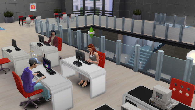 Screen grab of a sim in the commons in sims 4 university