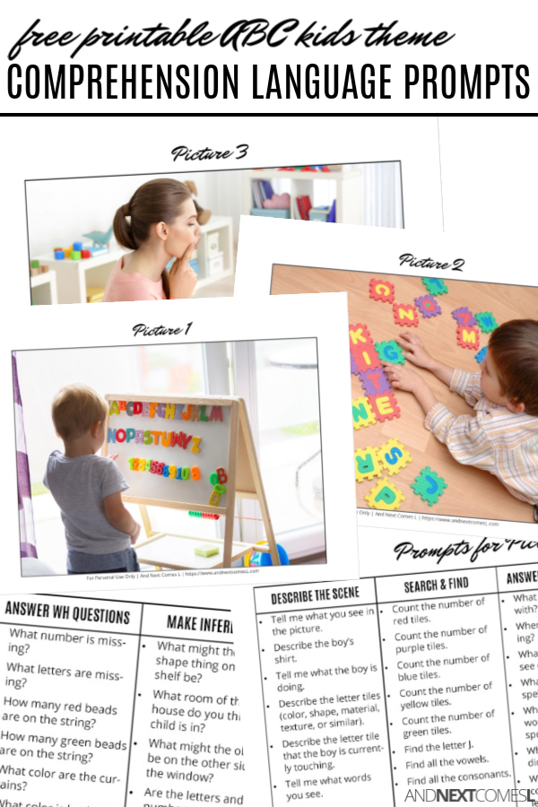 Free printable comprehension & WH questions language prompts for kids with hyperlexia or autism