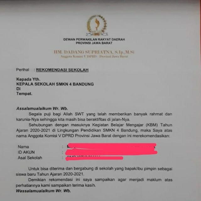 Pengakuan Anggota Dewan Pembuat Surat Rekomendasi Siswa Berkop DPRD Jabar