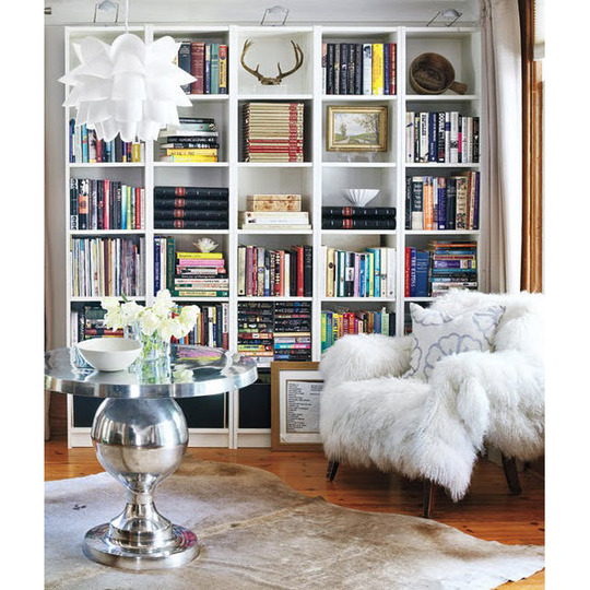 Charm of open shelves practically organized - Open shelving living room ...