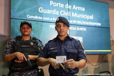Guardas Civis recebem porte para usar armas de fogo em Boa Vista (RR)