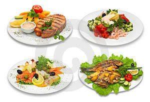 Variedades de pescado: pescados preparados en cuatro platos distintos y con diferentes presentaciones y acompañamientos