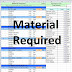 Material required in building - spreadsheet excel
