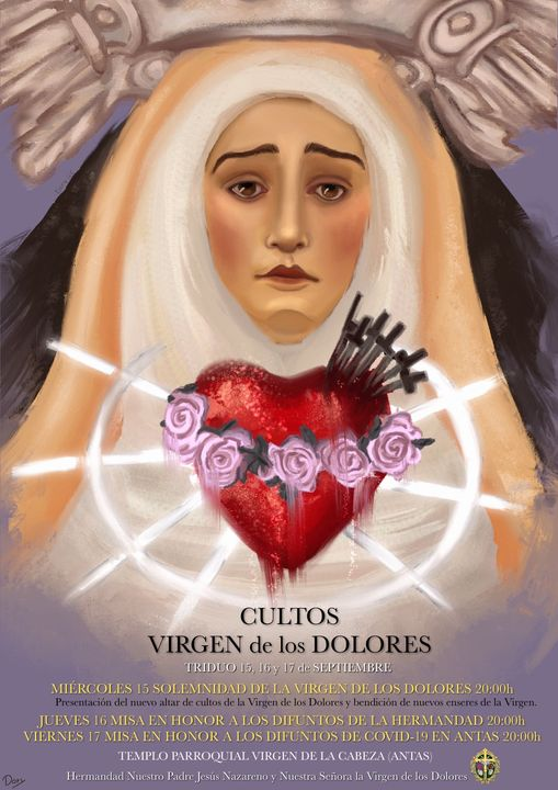 Cartel de Cultos de Nuestra Señora la Virgen de los Dolores 2021 de Antas (Almería)
