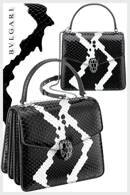 Bvlgari Serpenti Forever crossbody bag in black and white python skin with whitethunder motif #brilliantluxury