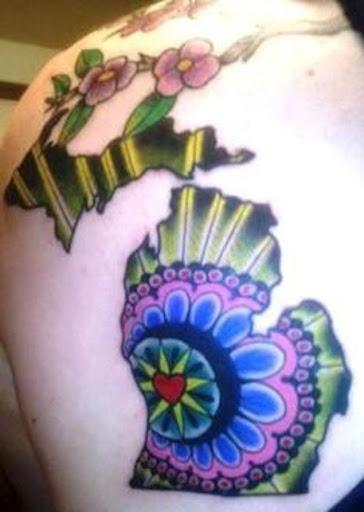 Este psicodélico estado de michigan tatuagem