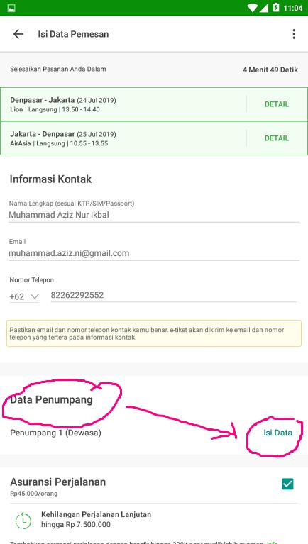 Mengisi Formulir Pemesanan Tiket Pesawat di Tokopedia.