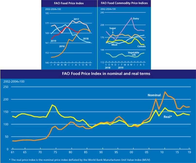 2019년 9월 세계식량가격지수 전월 동일, 전년 대비 3.3% 상승