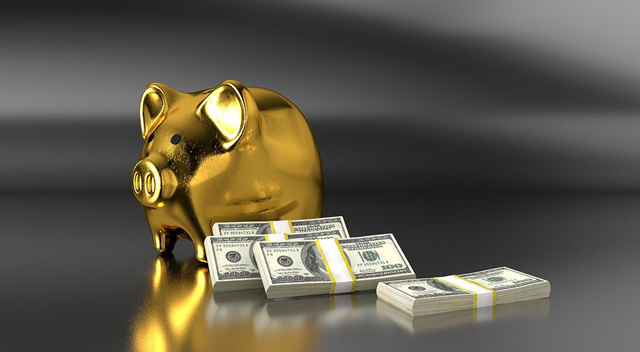 gold piggy bank with dollars