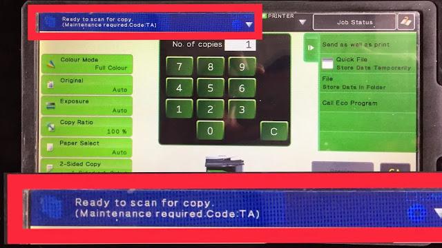 Sharp MX-3110N Maintenance Code TA Reset
