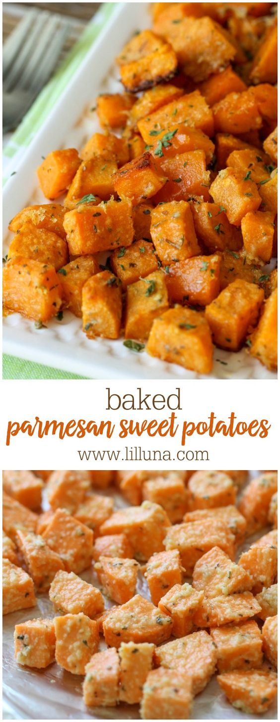 Baked Parmesan Sweet Potatoes- soft sweet potatoes coated with parmesan cheese and all kinds of spices!! It's a new favorite side dish that is quick and delicious.