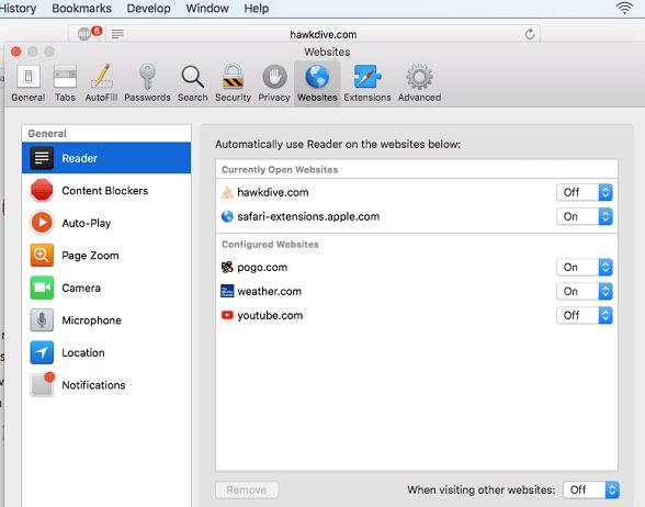 Per Website settings with new Safari in macOS High Sierra