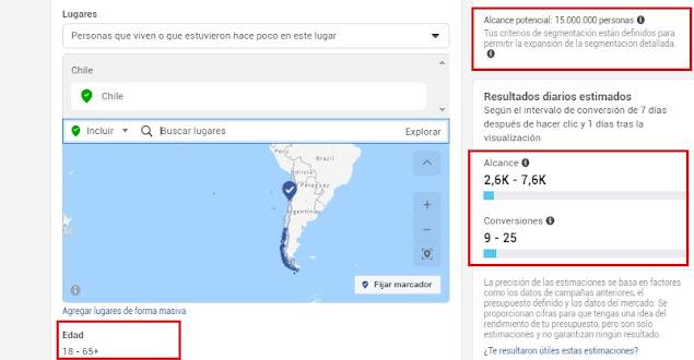 Estimaciones de alcance y conversiones con presupuesto en Facebook  Chile