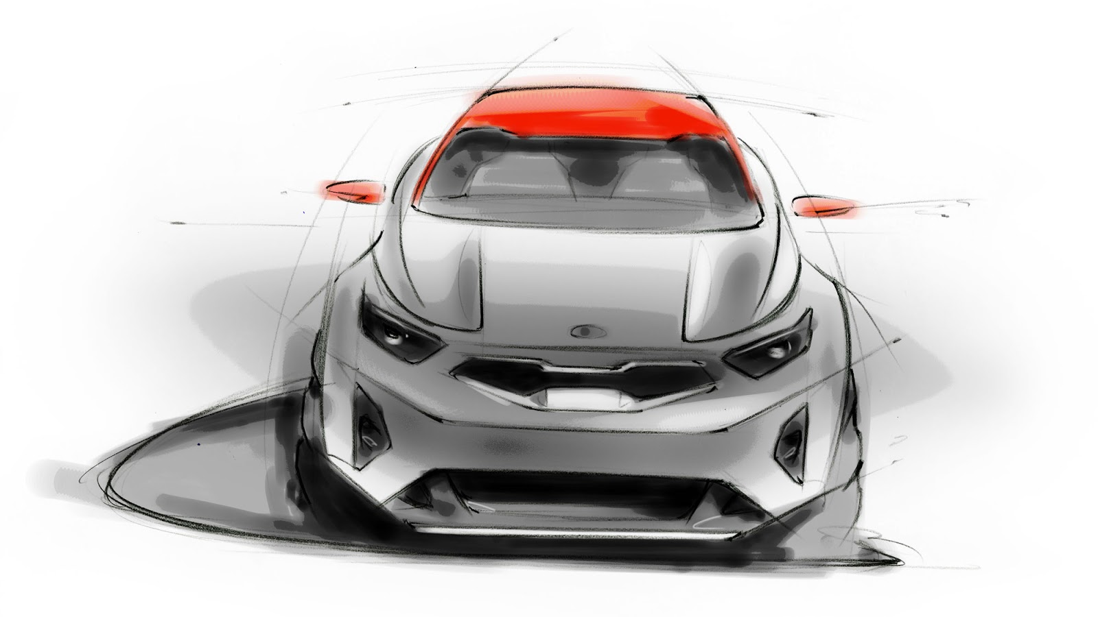 Kia Stonic sketch - early styling sketch front view