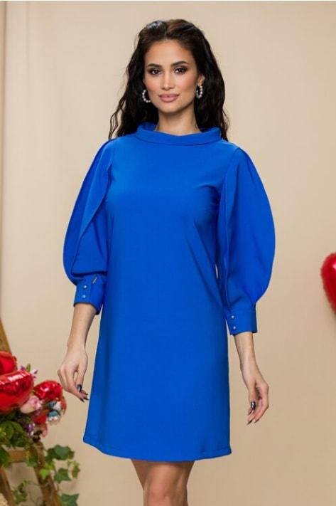 Rochie Catalin Botezatu albastra cu maneci stilizate