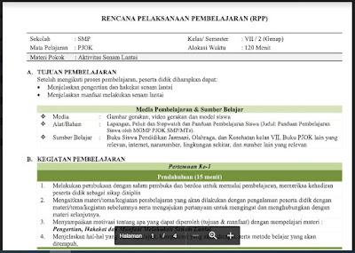 Download RPP Pendidikan Jasmani Olahraga dan Kesehatan (PJOK) Kelas 7 Semester 2 Tahun 2021