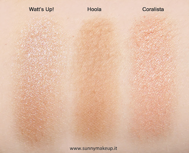 Swatch Benefit - Real Cheeky Party Kit. Da sinistra verso destra: Watt's Up!, Hoola, Coralista.