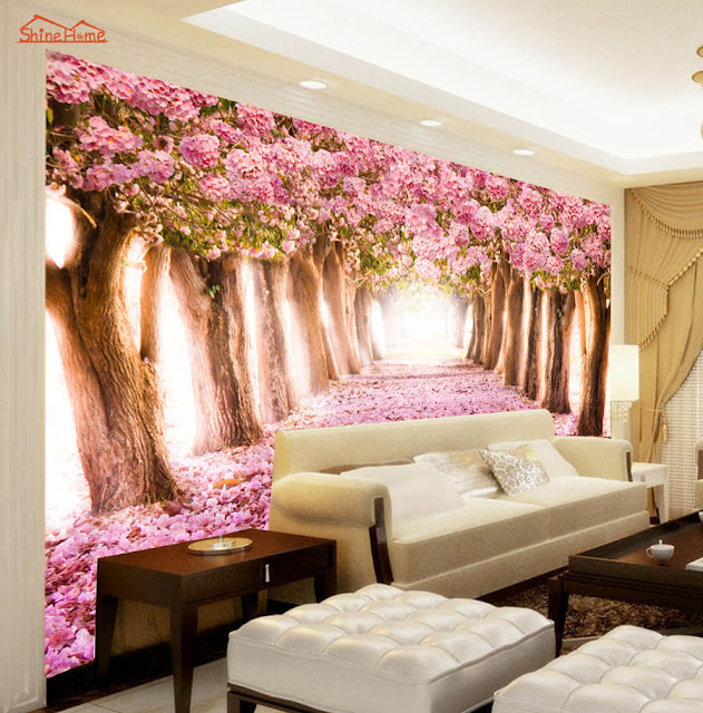 Picture Wallpaper for Walls Romantic Pink Flower Tree Wall Mural
