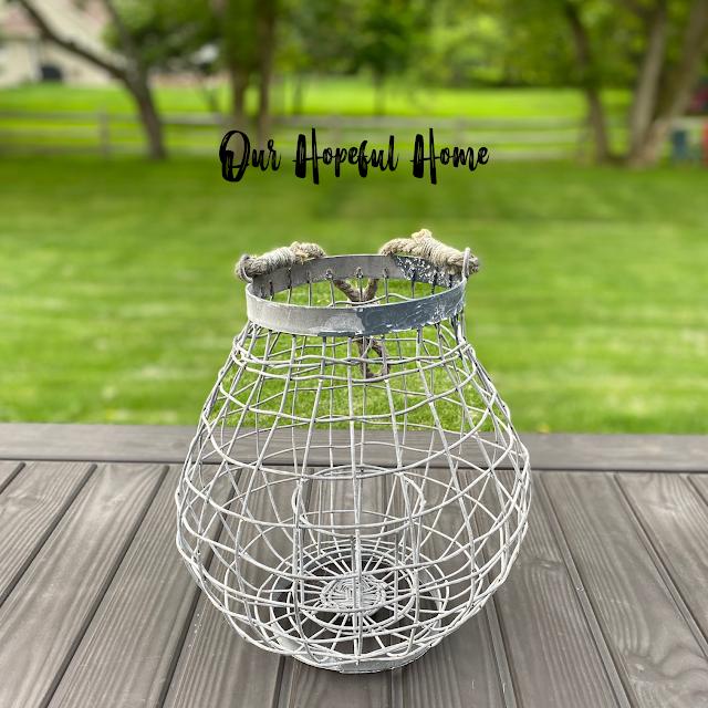 wire lattice outdoor lantern hanging rope
