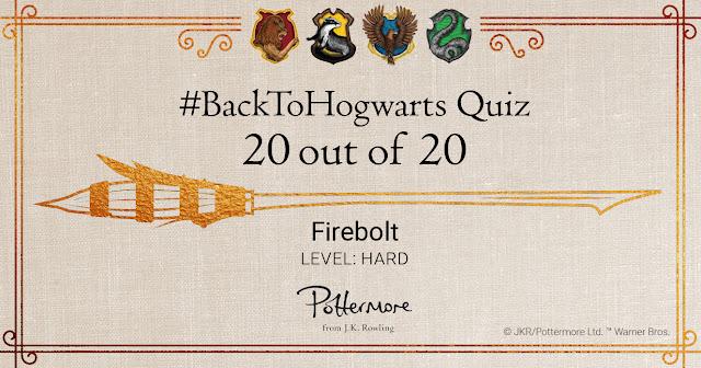 """Attestato del quiz """"Ritorno a Hogwarts - Firebolt, livello difficile"""""""