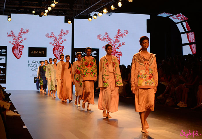 The final line-up of models in threadwork imagery and faces in pastels at Lakme Fashion Week at The St. Regis Hotel in Mumbai