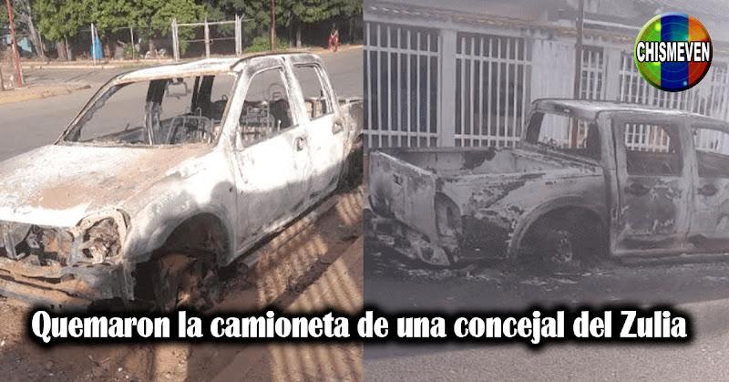 Quemaron la camioneta de una concejal del Zulia