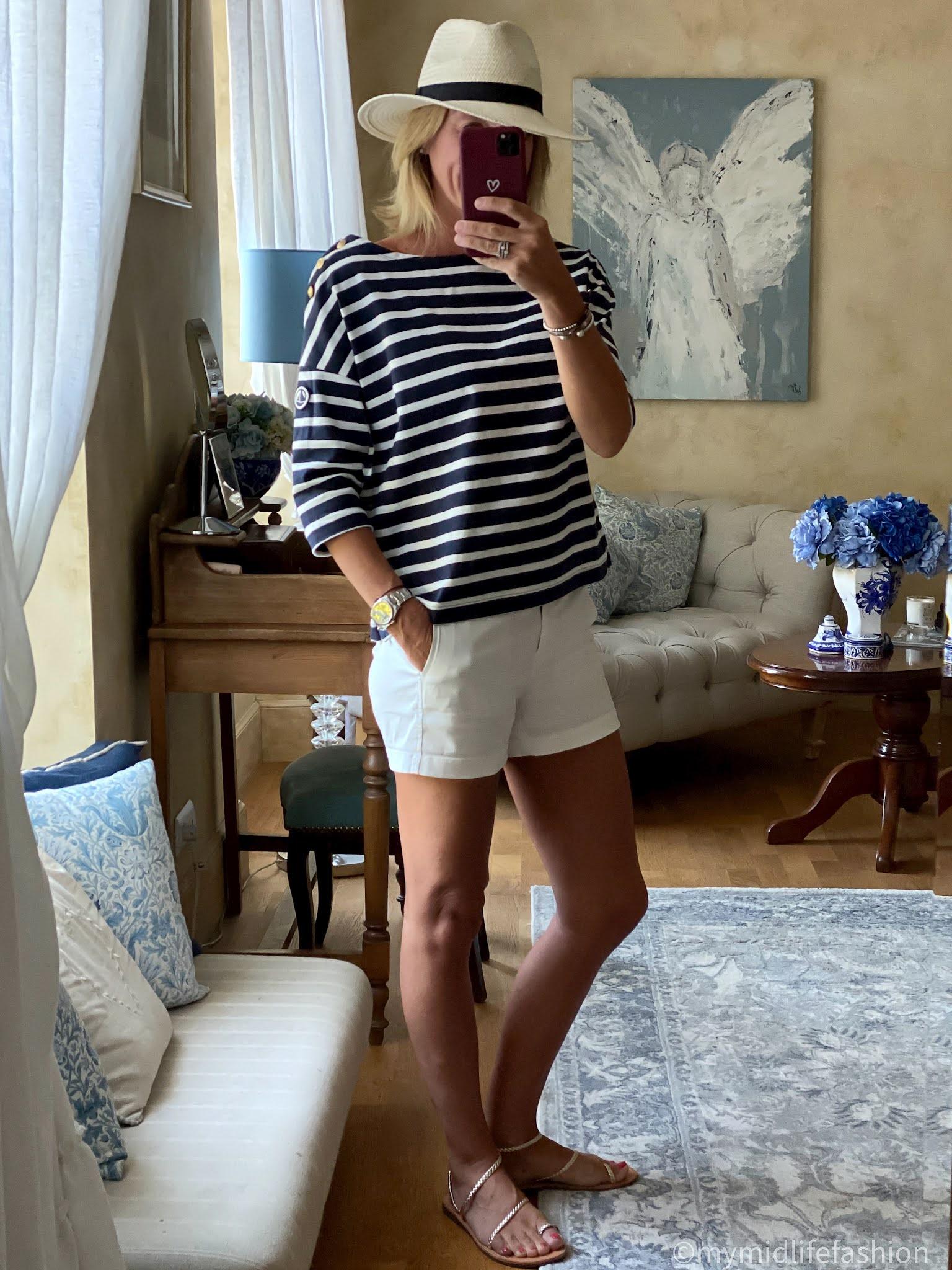my midlife fashion, Zara Panama hat, j crew 4 inch chino shorts, petit bateau stripe Breton, speak out chris braided gold leather sandals