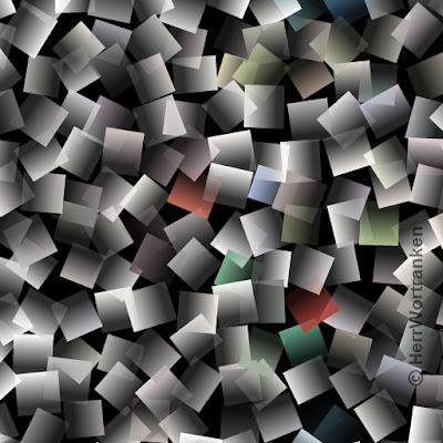 """Schwarzer Hintergrund bedeckt mit unzähligen kleinen, leicht gewölbten """"note-it"""" Zettelchen, die leicht gewölbt dargestellt sind. Alles in grau gehalten, die teilweise an Überlappungen, halb durchsichtig sind. Es sind 6 Doppel Zettel dabei, die je etwas rötlich, etwas grünlich und etwas gelblich erscheinen."""