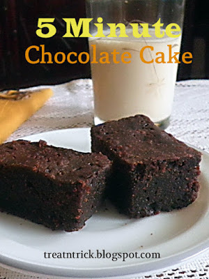 5 Min Chocolate Cake Recipe @ treatntrick.blogspot.com
