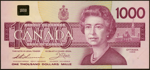 Canadian Banknotes 1000 Dollars banknote 1988 Her Majesty Queen Elizabeth II, Queen of Canada