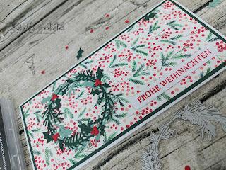 Farben: Lodengrün, Seladon Stempel: schöner Kranz Stanzformen: Herbst- und Winterkränze, viele Etiketten Werkzeug:Stanzmaschine