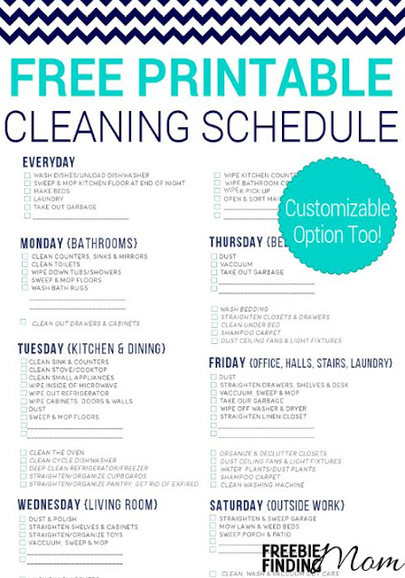 Effortless image with regard to printable cleaning schedule
