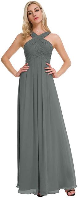 Long Grey Chiffon Bridesmaid Dresses