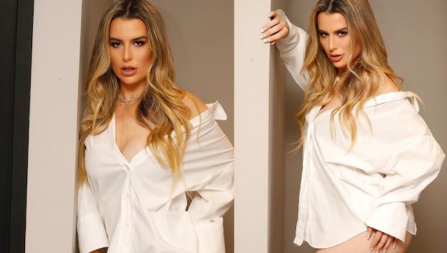 Fernanda Keulla in White open Shirt Hot Stunning Look Photos