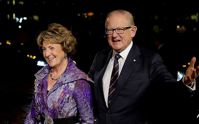 Princess Margriet and Pieter van Vollenhoven arrive at the Beatrix