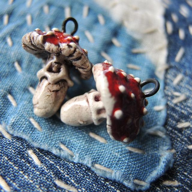 Oorbellen/earrings 'Amanita Muscaria'